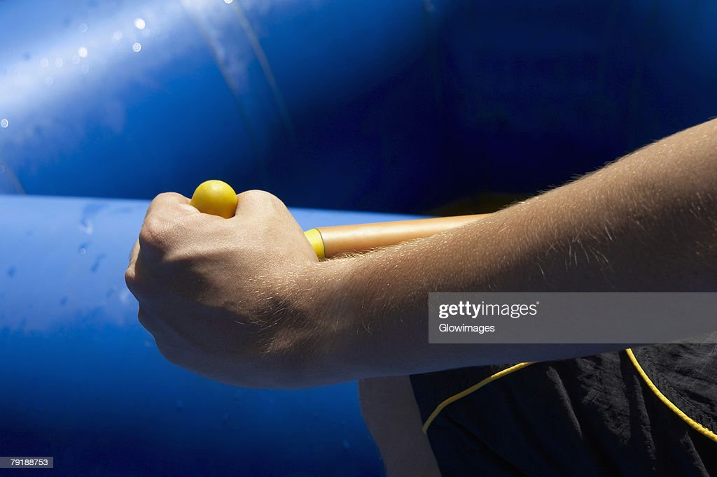 Mid section view of a person rafting : Foto de stock