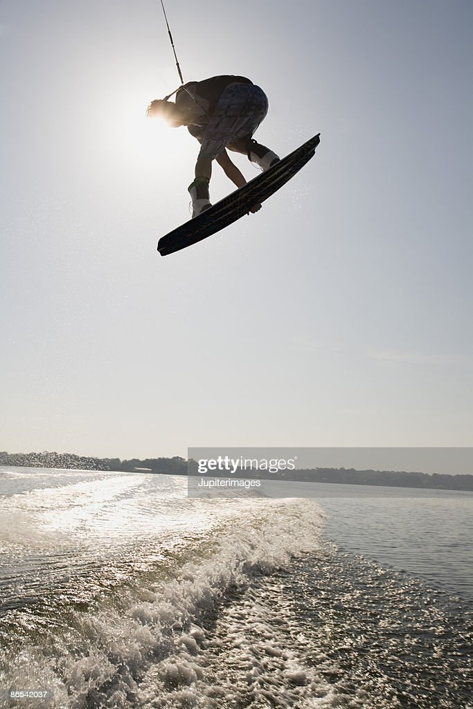 Midair wakeboarder : Stock Photo