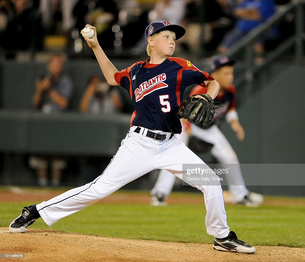 Mid-Atlantic's Cole Reeder pitches against Great Lakes at Lamade Stadium in South Williamsport, Pennsylvania, in the 2011 Little League World Series on Friday, August 19, 2011.