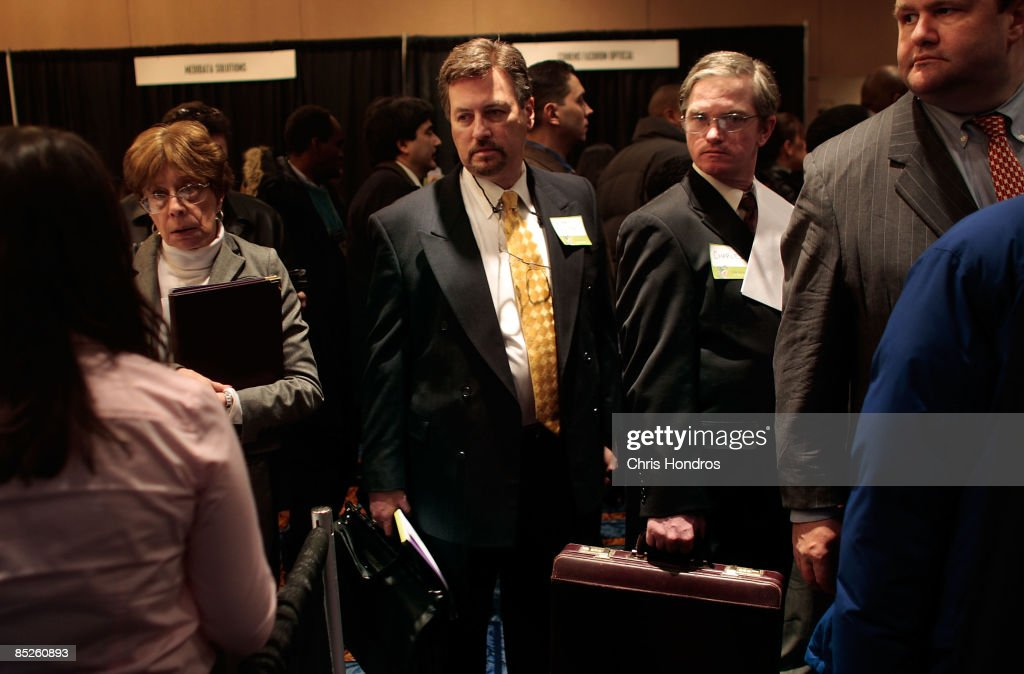 Mid-career professionals wait in line to be seen by a company recruiter during the 'Keep America Working' job fair at the Marriot Marquis Hotel in Times Square on March 5, 2009 in New York City. Thousands of job applicants showed up for the fair sponsored by the job placement service Monster.com which will tour nationally around the country. New York City has lost tens of thousands of jobs, a great percentage in the finance sector, due to the economic crisis.