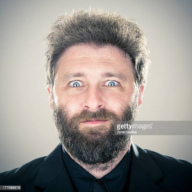 Middle age blue eyes man smiling portrait
