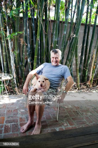 Middle Aged Man and his Dog : Stock Photo