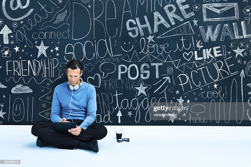 Middle aged man and social network