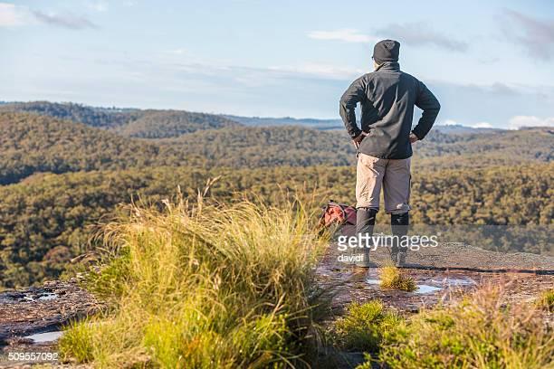Middle Aged Man Bushwalking in Spectacular Blue Mountains Australian Landscape