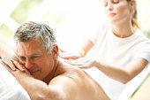 Middle Aged Man Enjoying Massage