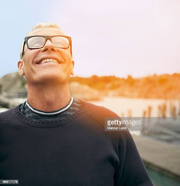 Middle aged man, portrait with flare