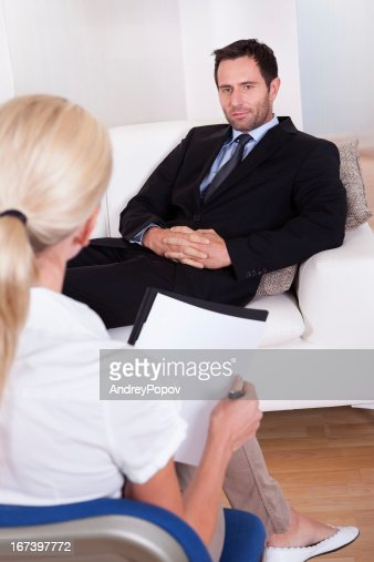 middle aged smart male executive interviewing : Stock Photo