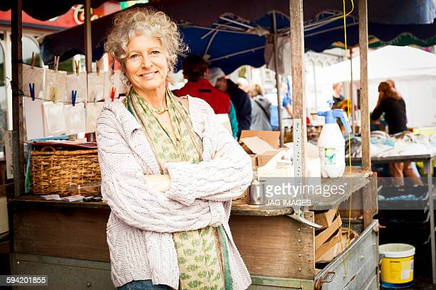 Middle aged woman in a famers market