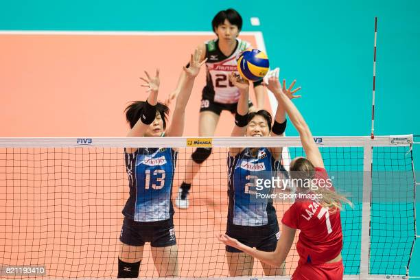 Middle blocker Mai Okumura of Japan and Wing spiker Sarina Koga of Japan during the FIVB Volleyball World Grand Prix match between Japan vs Russia on...