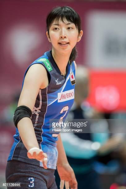 Middle blocker Nana Iwasaka of Japan reacts during the FIVB Volleyball World Grand Prix Hong Kong 2017 match between Japan and Russia on July 23 2017...
