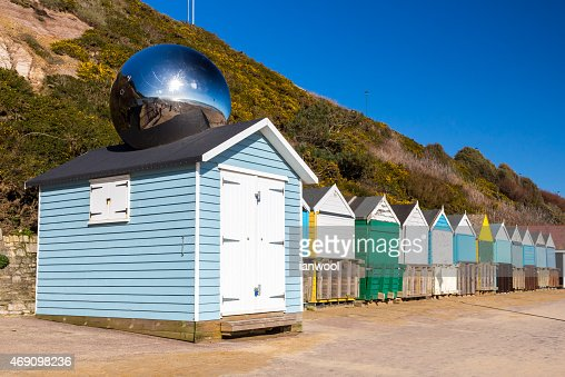 Middle Chine Beach Huts Dorset : Stock Photo