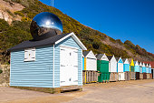 Beach huts at Middle Chine beach Bournemouth Dorset England UK Europe