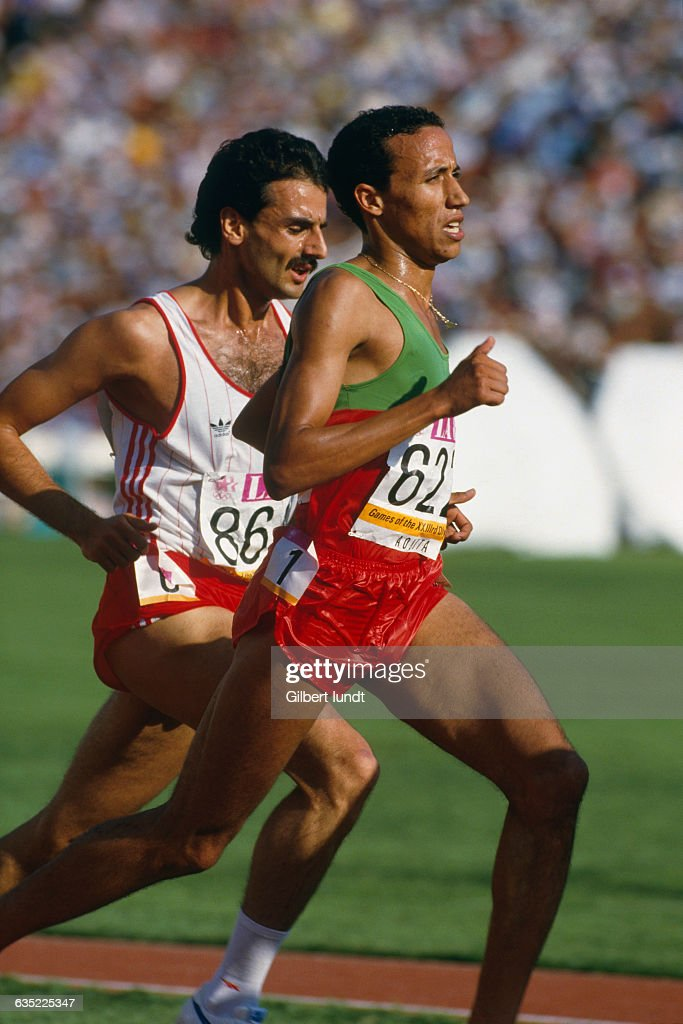 Middle distance runner Said Aouita from Morocco competes at the 1984 Summer Olympics