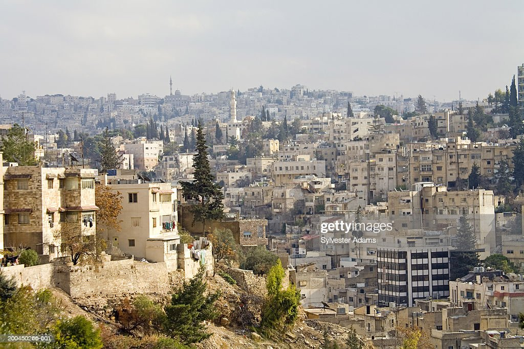 Middle East, Jordan, Amman; Elevated view of the city