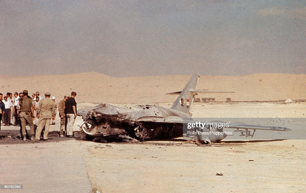 Middle East, June 1967, Six Day War, Sinai Desert, Israeli soldiers and observers inspect the wreckage of an Egyptian Air Force jet fighter aircraft that was shot down