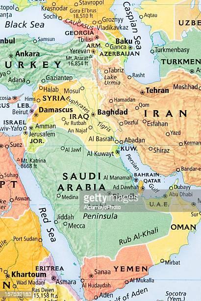Middle East, Saudi Arabia penninsula and Persian Gulf Region map