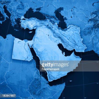 中東 Topographic マップ