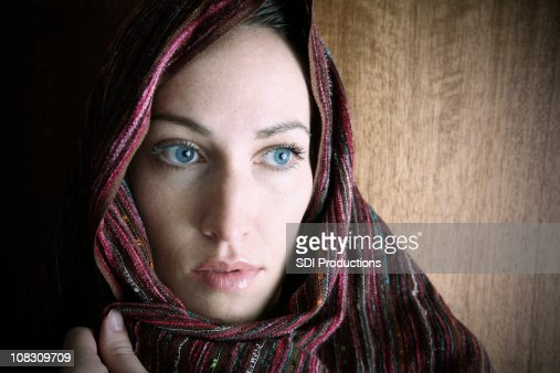 Middle Eastern Adult Woman Covered With Head Covering ...
