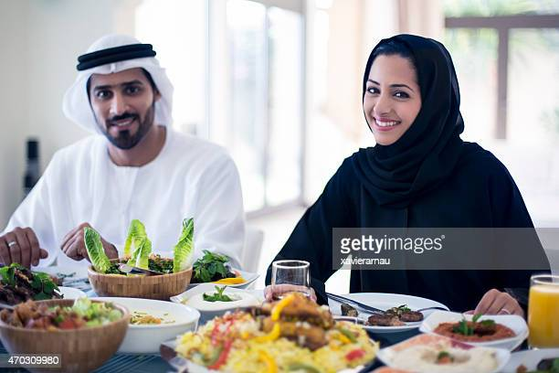 Middle Eastern couple having lunch
