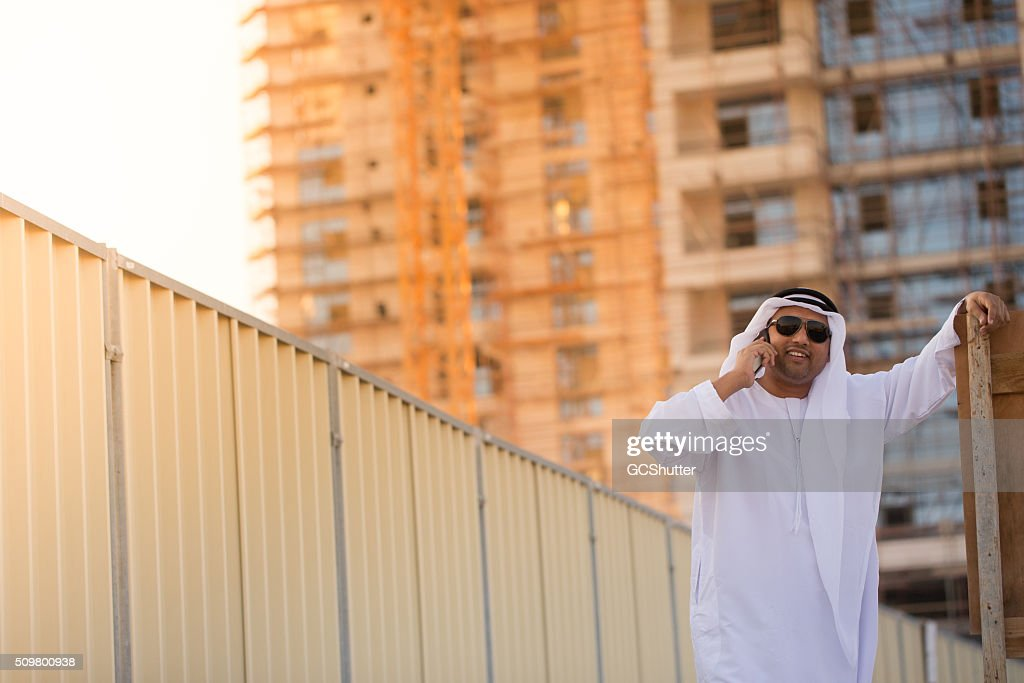 Middle Eastern Engineer at a construction project site