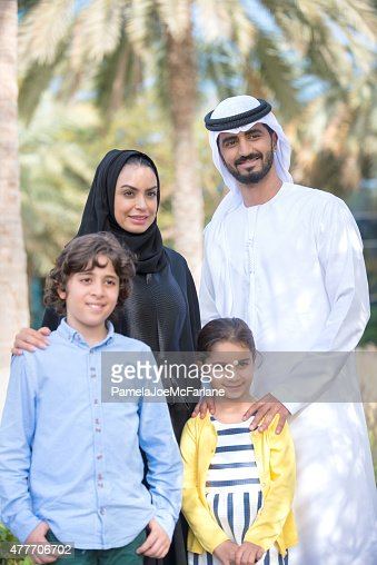 Middle Eastern Family, Parents and Children, Posing for Family Portrait