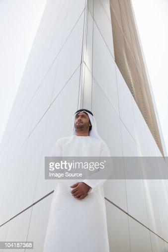 Middle eastern man outside dubai building