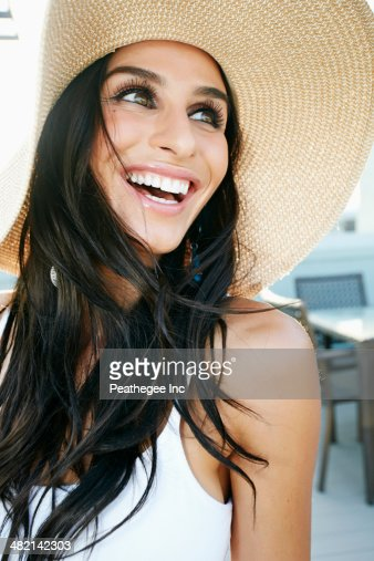 Middle Eastern woman smiling