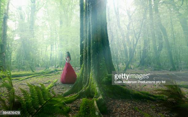 Middle Eastern woman wearing evening gown in forest