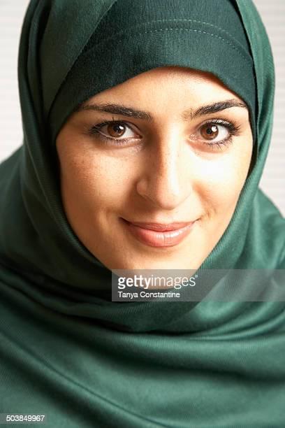 Middle Eastern woman wearing headscarf