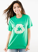 Middle Eastern woman wearing recycling t-shirt