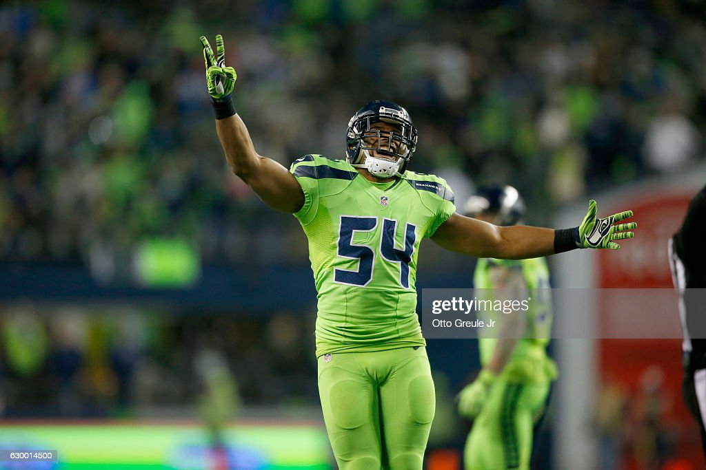 Middle linebacker Bobby Wagner #54 of the Seattle Seahawks celebrates after a play against the Los Angeles Rams at CenturyLink Field on December 15, 2016 in Seattle, Washington.