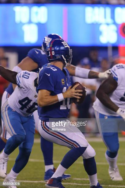 Middle Linebacker Jarrad Davis of the Detroit Lions has a sack against the New York Giants on September 18 2017 at MetLife Stadium in East Rutherford...