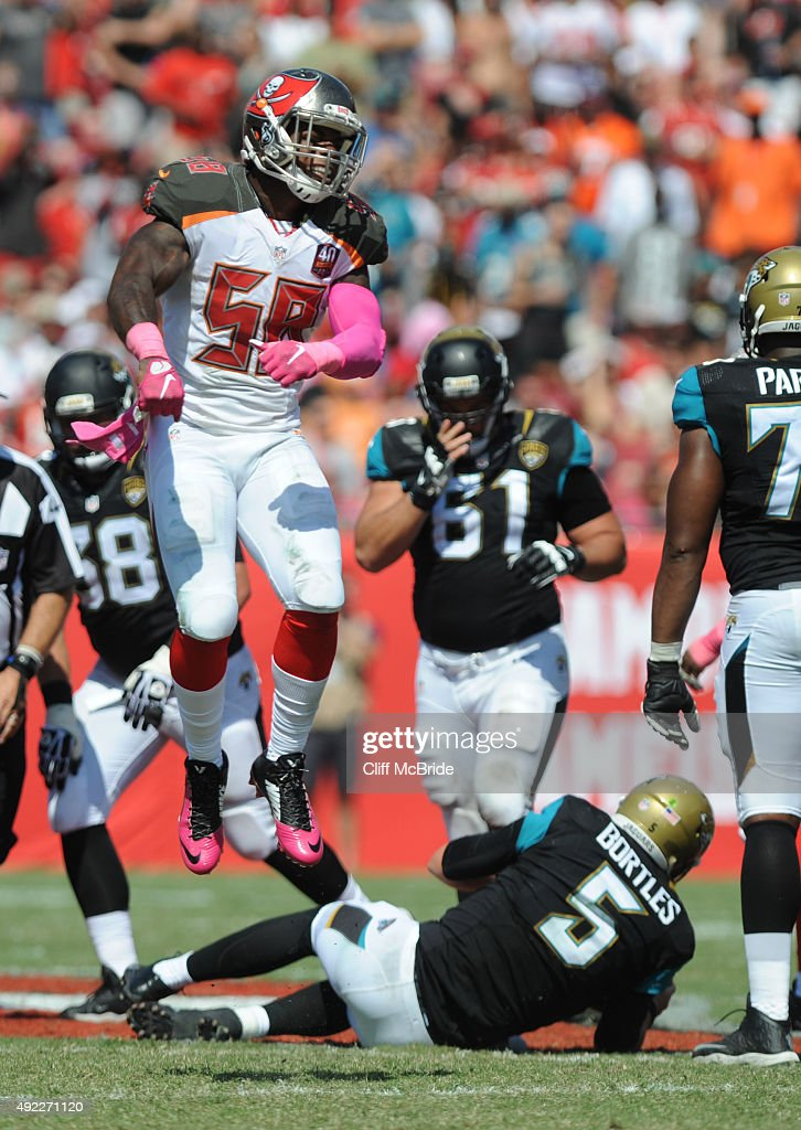 Middle linebacker Kwon Alexander #58 of the Tampa Bay Buccaneers reacts after sacking quarterback Blake Bortles #5 of the Jacksonville Jaguars in the second quaqrter at Raymond James Stadium on October 11, 2015 in Tampa, Florida.