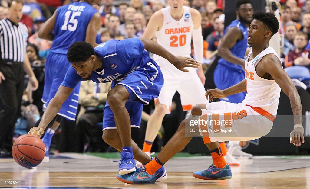 Middle Tennessee guard/forward Perrin Buford is fouled by Syracuse guard Franklin Howard during the first half on Sunday March 20 at the Scottrade...