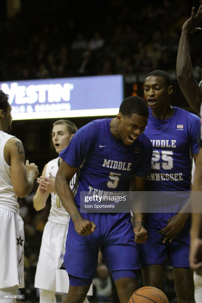 Middle Tennessee State Blue Raiders forward Nick King (5) celebrates a basket after being fouled by a Vanderbilt Commodores defender during a college basketball game between the Middle Tennessee State Blue Raiders and the Vanderbilt Commodores on December 06, 2016 at Memorial Gym in Nashville, Tennessee.