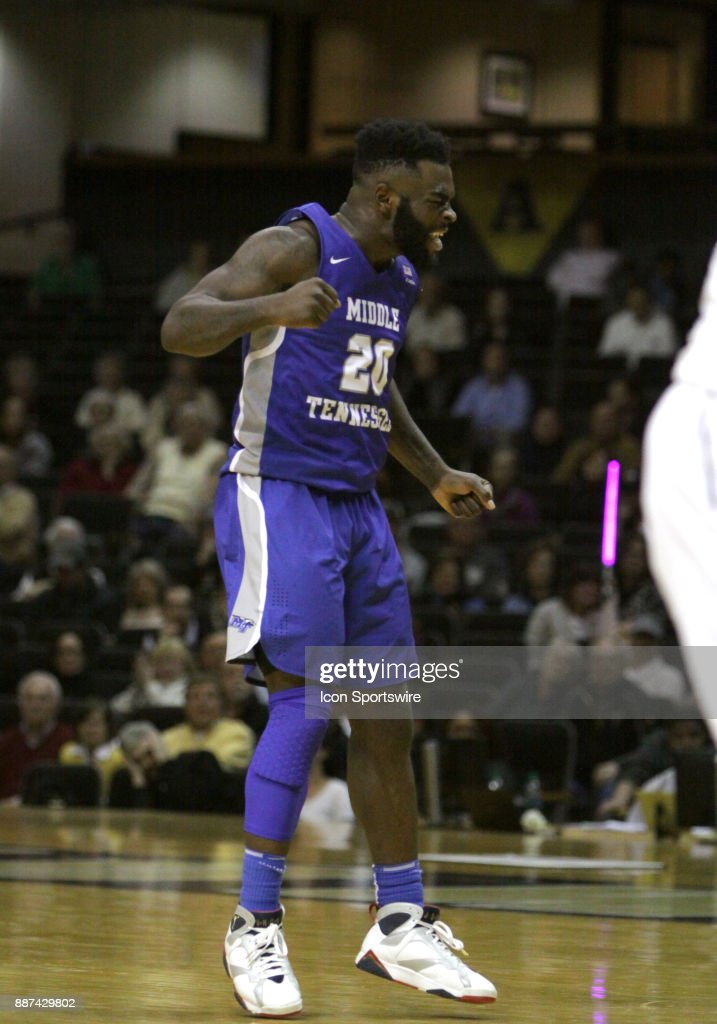 Middle Tennessee State Blue Raiders Giddy Potts (20) celebrates a 66-63 victory over the Vanderbilt Commodores during a college basketball game between the Middle Tennessee State Blue Raiders and the Vanderbilt Commodores on December 06, 2016 at Memorial Gym in Nashville, Tennessee.