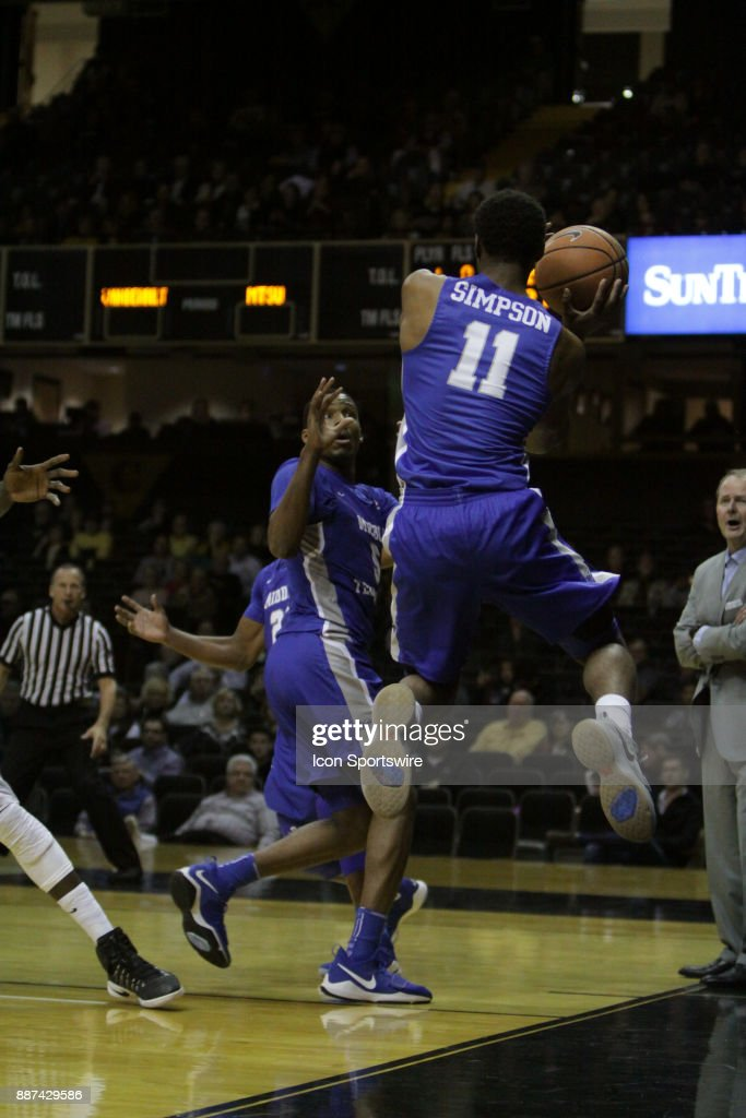 Middle Tennessee State Blue Raiders guard Edward Simpson (11) saves the ball to a teammate in the first half against the Vanderbilt Commodores during a college basketball game between the Middle Tennessee State Blue Raiders and the Vanderbilt Commodores on December 06, 2016 at Memorial Gym in Nashville, Tennessee.