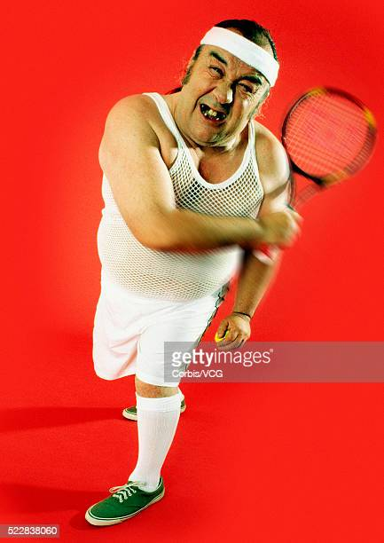 Middle-aged and overweight tennis player