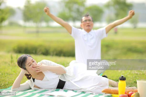 Middle-aged couple having a picnic in the park
