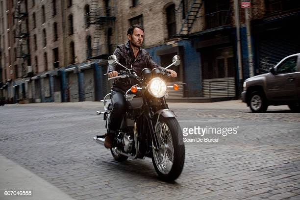 Middle-aged man riding his motorcycle