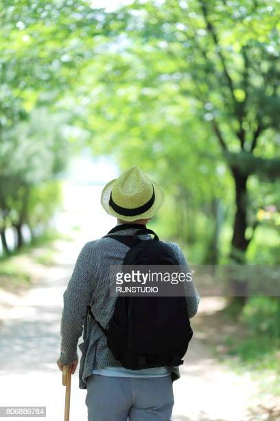 Middle-aged man walking in a park