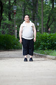 Middle-aged of japanese men who exercise in the park