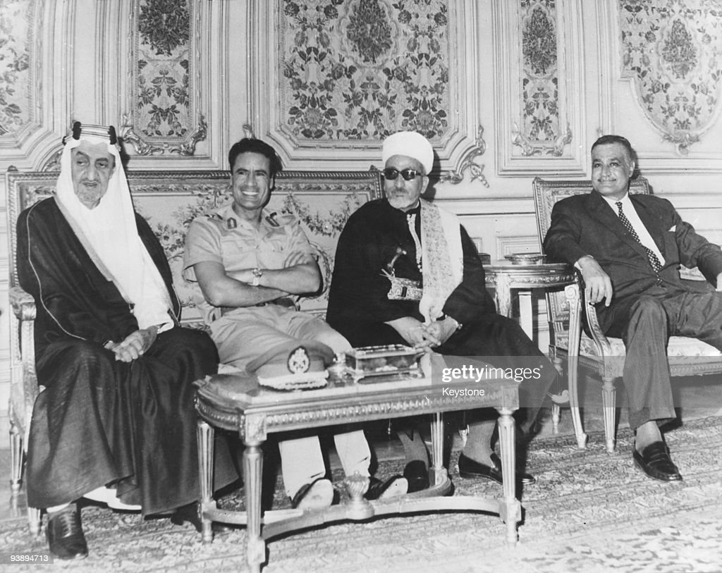 Middle-Eastern leaders in Cairo for talks on the situation in Jordan, September 1970. Left to right: King Faisal of Saudi Arabia (1904 - 1975), President Muammar al-Gaddafi of Libya, President Abdul Rahman Iryani (1910 - 1998) of the Yemen Arab Republic and President Gamal Abdel Nasser (1918 - 1970) of Egypt.