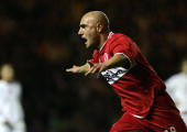 Middlesbrough's Massimo Maccarone celebrates the winning goal against FC Basel during their UEFA Cup quarterfinal 2nd leg football match at The...