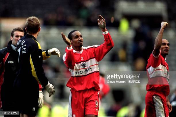 Middlesbrough captain Paul Ince celebrates at the final whistle with Mark Schwarzer and Curtis Fleming