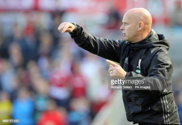Middlesbrough caretaker manager Steve Agnew gestures on the touchline during the Premier League match at the Riverside Stadium Middlesbrough