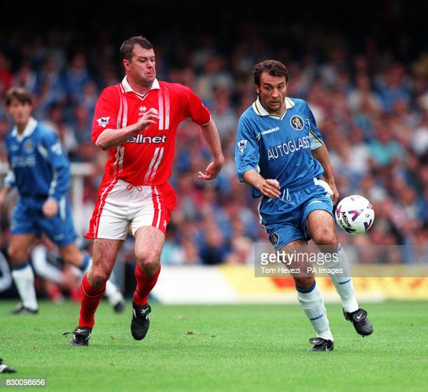 FEATURE Middlesbrough defender Gary Pallister chases Chelsea striker Pierluigi Casiraghi during their FA Carling Premiership match at Stamford Bridge