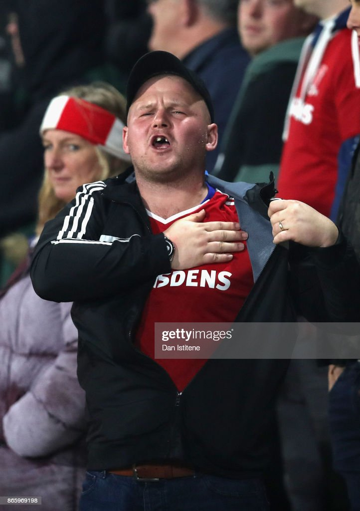 A Middlesbrough fan reacts during the Carabao Cup Fourth Round match between AFC Bournemouth and Middlesbrough at Vitality Stadium on October 24, 2017 in Bournemouth, England.