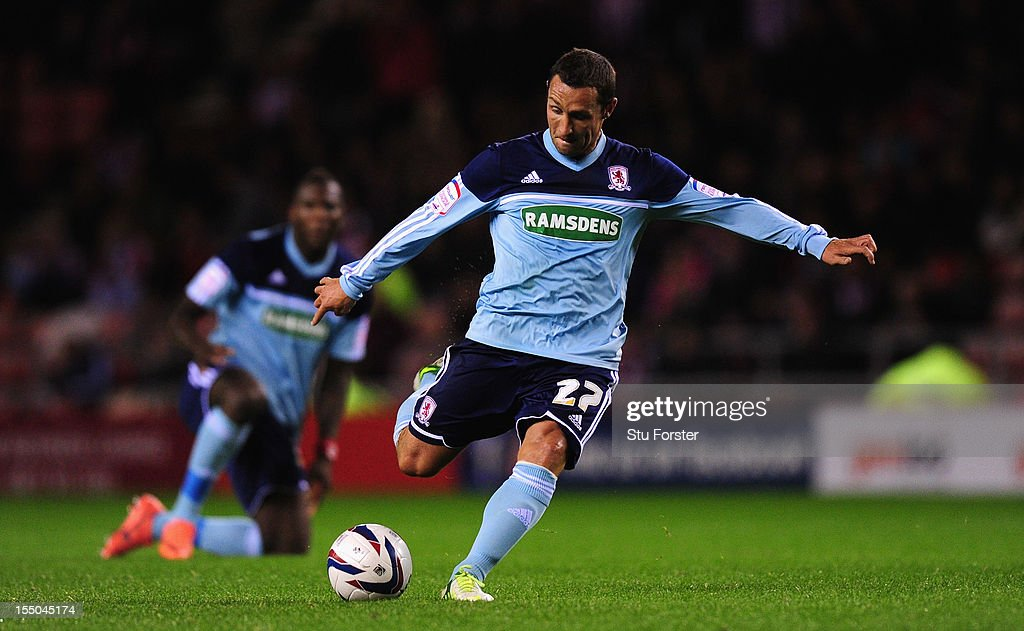 Middlesbrough forward Scott Mcdonald in action during the Capital One Cup Fourth Round match between Sunderland and Middlesbrough at Stadium of Light...