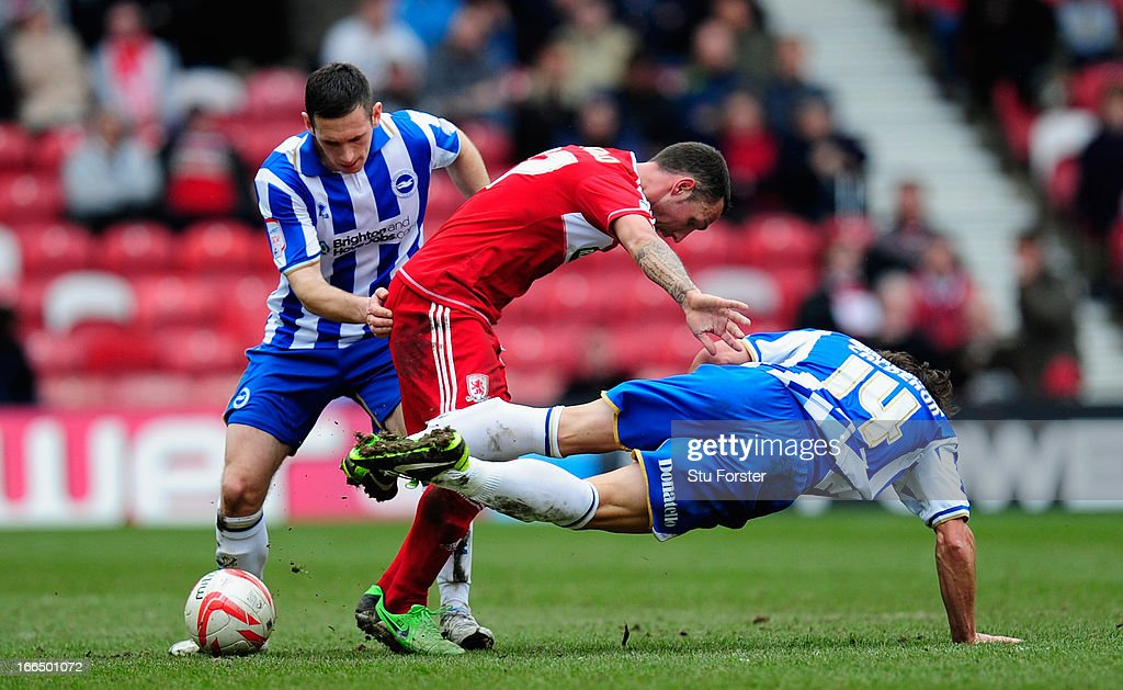 Middlesbrough forward Scott McDonald is crowded out by Brighton players Andrew Crofts and Andrea Orlandi during the npower Championship match between...